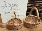 WICKER CHILDS FLOWER GIRL BASKET BRIDESMAID EGG COLLECTION CHILDS GIRLS BUFF