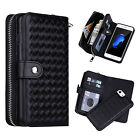 2-in-1 Woven PU Leather Zipper Card Slots Wallet Case Cover for iPhone Samsung