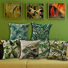 "Tropical Leaves Linen Cushion Cover Sofa Throw Pillow Case 18""/45cm Home Décor"