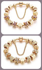 New Woman's Girls Gold Plated Crystal Charm Bracelet with Cross Purple or White