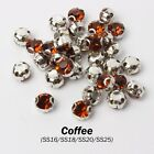 Coffee 144PCS faceted Sew on Rhinestone Metals Claws for Dress Making Garment