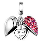 Red I Love You Heart Charm Bead - 925 Sterling Silver - Sister Wife Mum Daughter