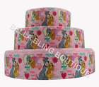"""1 2 3 METRE METRES LADY AND THE TRAMP DOG 1"""" GROSGRAIN RIBBON 25MM BOW CAKE CARD"""