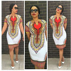 Hot Women Traditional African Print Dashiki Bohemia Bodycon Short Sleeve Dress