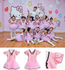 Brand new Kids Girls Pink Flounces Short Sleeve Dance Ballet Dress Veil Skirt