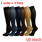 (4 Pairs) Compression Socks Stockings Graduated Support Men's Women's (S-XL) <br/> Us Stock   6 colors  1Order= 4 Pairs   Free shipping