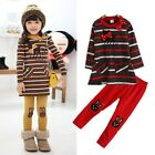 Girls Set Cotton Long Sleeve Fall Dress + Leggings Striped 3 Colors Size 3-7