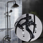 "Oil Rubbed Bronze Bath Shower Faucet 8"" Rain Shower Head + Hand Shower Mixer Tap"
