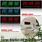Digital Large Big Jumbo LED Home Wall Desk Clock With Calendar Temperature US