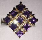 Beautiful 9kt Yellow Gold Plated Square Purple Crystal Zirconia Cocktail Ring