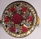 Beautiful 9kt Yellow Gold Plated Red Round Set Crystal Tiered Cocktail Ring