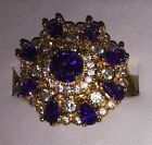 Beautiful 9kt Yellow Gold Plated Purple Round Set Crystal Tiered Cocktail Ring