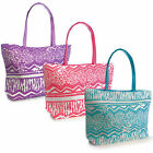 Ladies Girls Aztec Design Shoulder Shopping Tote Summer Holiday Pool Beach Bag