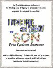T-shirt - DOWN SYNDROME awareness - I WEAR BLUE and YELLOW for my SON