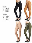 FASHION WOMENS TWILL COTTON SKINNY FIT CASUAL CARGO PANTS DENIM SLACKS TROUSERS