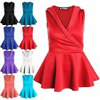 Womens Ladies Tuxedo Coat Collared Wrap Flared Stretchy Peplum Frill Mini Dress
