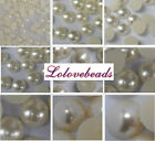 Ivory Flatback Half Pearls Scrapbooking Beads Gems DIY Craft Size (3-25mm)
