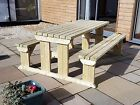 Picnic Table And Bench Set Wooden Outdoor Garden Furniture, Abies Heavy Duty
