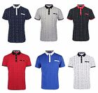 Men's Fashion Short Sleeve Casual Anchor Print Fitted Polo T-Shirt