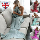 Adult Mermaid Tail Blankets Handmade Crocheted Knit Cocoon Sofa Quilt Beach Rug