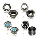 4-16mm Vintage Flesh Tunnel Ethno Plug Messing Antik Look Totenkopf Türkis Z519