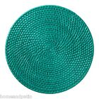 """NIB SET OF 6 COLOR SWIRL 14.5"""" ROUND TEAL RATTAN PLACEMATS"""