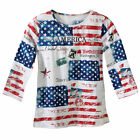 Womens All American Patriotic Flag Scoop Neck Sequin Top, Plus Size