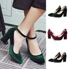 Womens Velour Chunky Block Heels Ankle Strap Pumps Court Casual Mary Janes Shoes