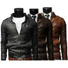 New Men\'s fashion jackets collar Slim motorcycle leather jacket coat outwear