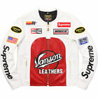 SUPREME X VANSON LEATHER STAR JACKET WHITE RED BLACK SIZE LARGE SS17 IN HAND