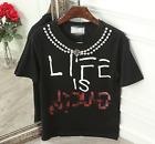 2017 occident trendy cotton black T shirt pearl letter printing free shipping