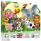 LARGE ZOO JUNGLE NURSERY CHILDREN BABY KIDS BEDROOM CANVAS WALL ART PICTURES
