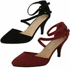 Ladies Spot On F9657 Black Or Burgundy Mid Heel Strappy Shoes