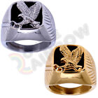 R3 Men' Stainless Steel Black Onyx Gold Silver Eagle Ring Size 8-13