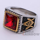 R6 Men's Stainless Steel Red Ruby Gold Silver Masonic Mason Ring Size 8-13