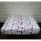 AL262t Royal Blue Black White Anchor Cotton Canvas 3D Box Seat Cushion Cover Siz