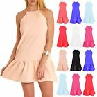 Ladies Women Plunge V Neck Peplum Sleeveless Hem Frill Cami Bodycon Tunic Dress