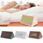 Triangular LED Wooden Digital Sound Control Alarm Clock Temp Display Dimmable