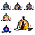 vintage Beauty and the Beast photo cabochon Glass Black pendant necklace