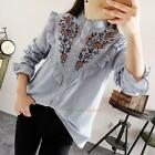 Women Floral Embroidery Striped Tops Blouse Casual Loose Long Sleeve T Shirt Top