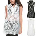 Womens Ladies Full Floral Lace Sleeveless Collared Button Down Swing Dress Top