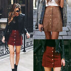 Women High Waist Bodycon Suede Leather Pocket Preppy Short Mini Skirts USA