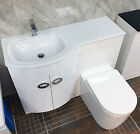Pebble P Shaped Vanity Set Suite With White Glass Top Bathroom Furniture Modern