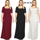 Plus size UK Ladies Maxi Lace Bridesmaid Wedding Dress Formal ball gown Party