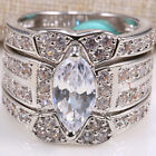 925 Sterling Silver Women Fashion White Sapphire Wedding Engagement Ring Set