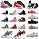 Women's Canvas Trainers Sports Casual Flat Shoes Plimsolls Sneakers High-Low Top