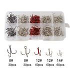 50/100pcs Fishing Hook Sharpened Treble Hooks 5 Size 2/4/6/8/10 Fishhook Tackle
