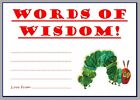 BABY SHOWER GAME WORDS OF WISDOM FOR MUMMY MOMMY THE VERY HUNGRY CATERPILLAR
