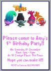 personalised photo paper card party invites invitations TROLLS THE MOVIE POPPY