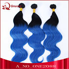 Fashion 3Bundles Omber Two Tone Black Blue Body Wave Synthetic Hair Weaving Weft